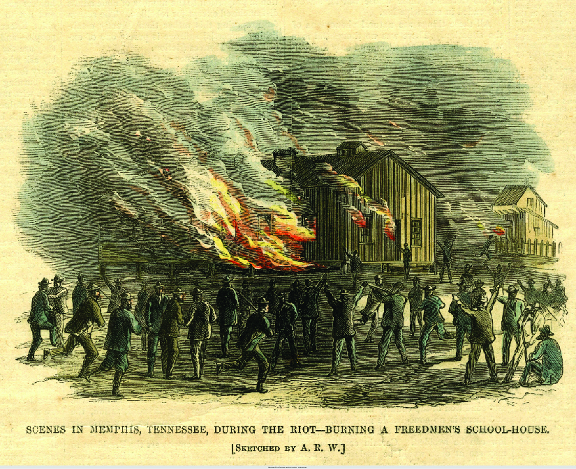 """An image of a sketch of a building on fire. Several people are standing outside the building. Some of the people are armed. At the bottom of the image reads """"Scenes in Memphis, Tennessee, during the riot—burning a freedmen's school-house. [Sketched by A. R. W.]""""."""