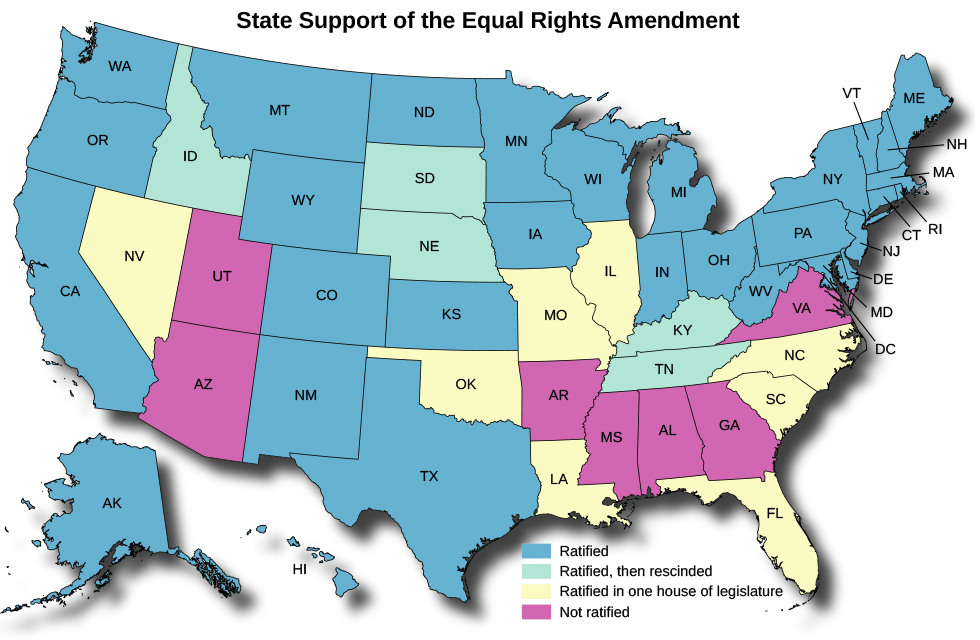 "A map of the United States titled ""State Support of the Equal Rights Amendment"". States marked as ""Ratified"" are Washington, Oregon, California, Alaska, Hawaii, Montana, Wyoming, Colorado, New Mexico, North Dakota, Kansas, Texas, Minnesota, Iowa, Wisconsin, Michigan, Indiana, Ohio, West Virginia, Maryland, Pennsylvania, Delaware, New Jersey, New York, Connecticut, Rhode Island, Massachusetts, New Hampshire, Maine, and Vermont. States marked as ""Ratified, then rescinded"" are Idaho, South Dakota, Nebraska, Kentucky, and Tennessee. States marked as ""Ratified in one house of legislature"" are Nevada, Oklahoma, Missouri, Illinois, Louisiana, Florida, South Carolina, and North Carolina. States marked as ""Not ratified"" are Utah, Arizona, Arkansas, Mississippi, Alabama, Georgia, and Virginia."