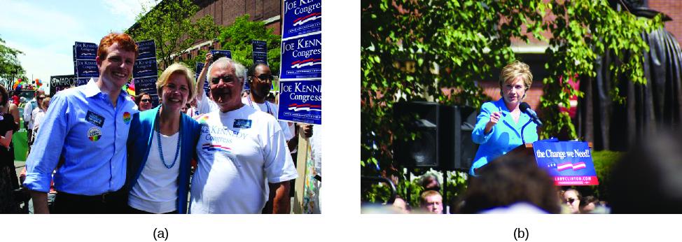 Photo A shows Joseph P. Kennedy, Elizabeth Warren, and Barney Frank. Image B shows Hillary Clinton at a podium.
