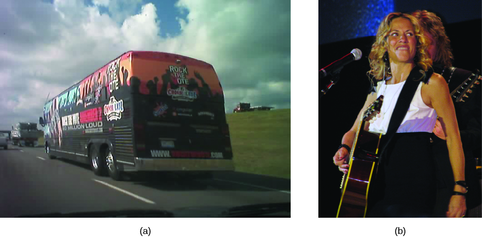 """Image A is of a tour bus driving along a road. Print on the back of the bus reads """"Rock the Vote"""". Image B is of Sheryl Crow holding a guitar."""