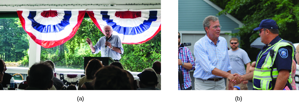 """Image A is of Bernie Sanders speaking to a group of seated people. Image B is of John Ellis """"Jeb"""" Bush shaking hands with another person."""