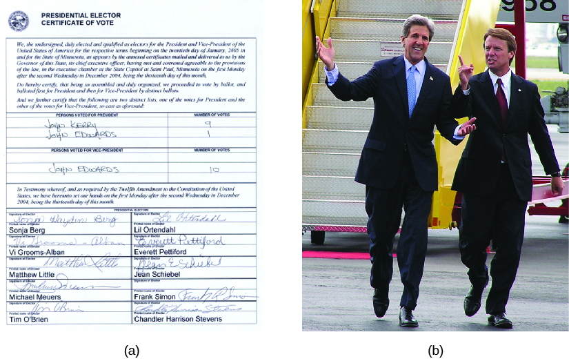 Image A is of a presidential elector certificate of vote form, showing a vote for John Kerry for president. Image B is of John Kerry and John Edwards.