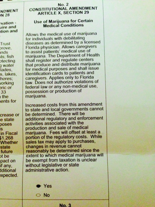 """A image of a ballot that reads """"No. 2 Constitutional Amendment Article X, Section 29. Use of Marijuana for Certain Medical Conditions."""""""