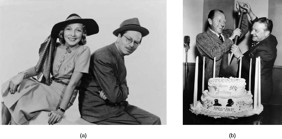 Image A is of Goodman and Jane Ace. Image B is of Freeman Gosden and Charles Correll cutting a cake with a shovel.