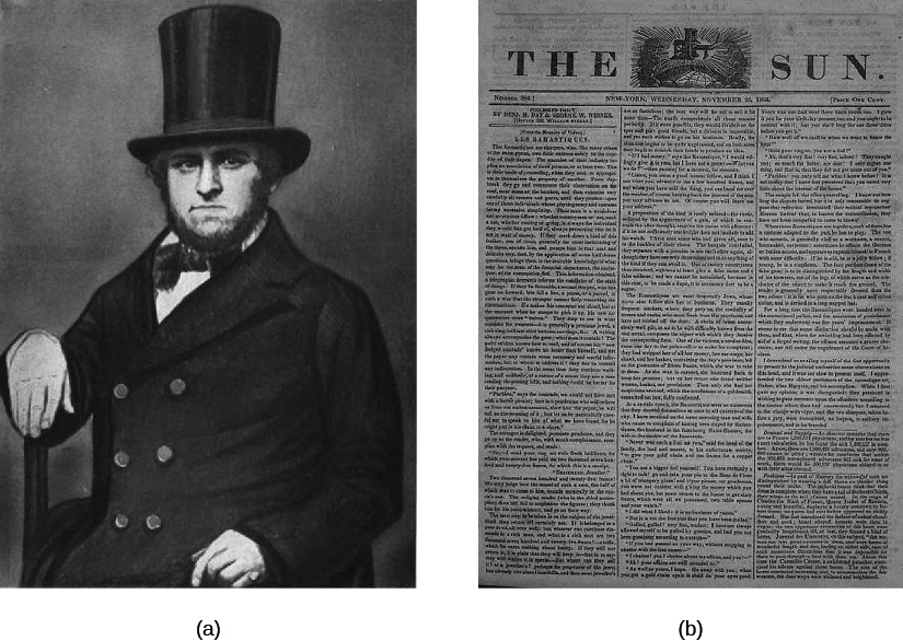 """Image A is of Benjamin Day seated. Image B is of a newspaper titled """"The Sun""""."""