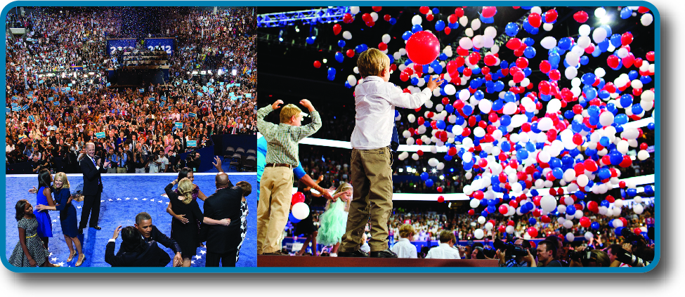 The image on the left is of Obama and his family in front of a large crowd of people. The image on the left is of several children on a stage in front of a large crowd of people. A large number of balloons are falling from above.