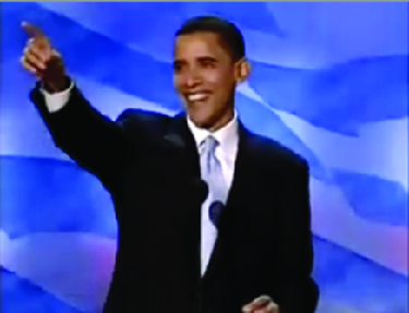 An image of a smiling Barack Obama with his right hand outstretched.