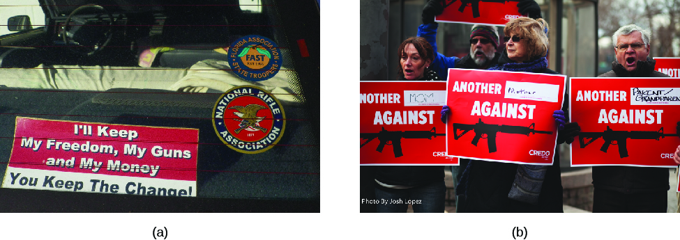 """Image A is of the back window of a truck. A sign visible through the back window reads """"I'll keep my freedom, my guns, and my money, you keep the change!"""" Image B is of four people holding signs that read """"Another (blank) against (image of assault rifle)""""."""