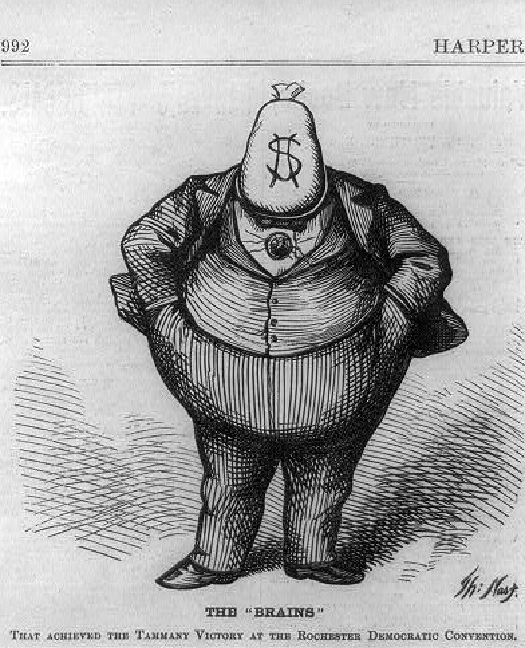 """An image of a corpulent cartoon figure wearing a suit, hands in pockets, with a bag of money instead of a head. Text under the figure reads """"The """"Brains"""" """"."""