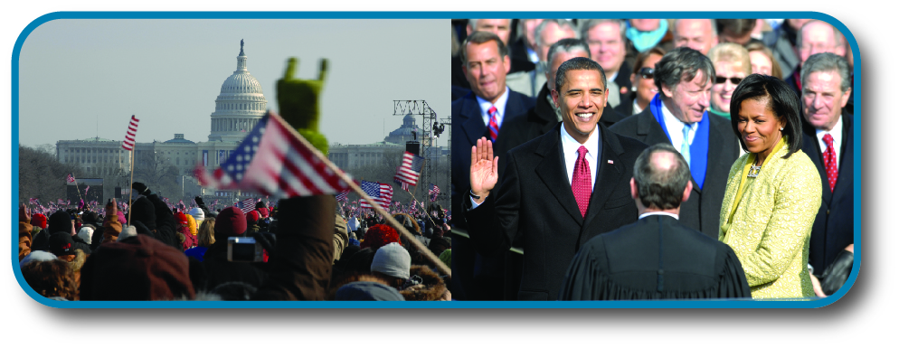 The left image shows a crowd of people waving American flags in front of the Capitol. The right image shows Barack Obama being sworn in as President of the United States.