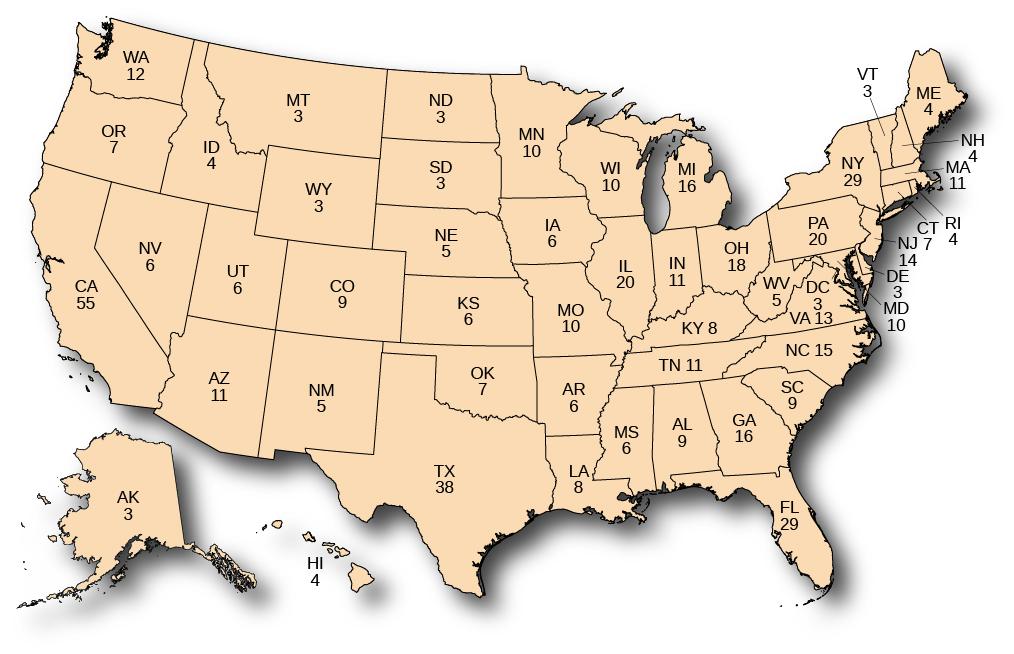 A map of the United States showing the number of Electoral College votes granted to each state. In alphabetical order, Alabama has 9, Alaska has 3, Arizona has 11, Arkansas has 6, California has 55, Colorado has 9, Connecticut has 7, Delaware has 3, Washington DC has 3, Florida has 29, Georgia has 16, Hawaii has 4, Idaho has 4, Illinois has 20, Indiana has 11, Iowa has 6, Kansas has 6, Kentucky has 8, Louisiana has 8, Maine has 4, Maryland has 10, Massachusetts has 11, Michigan has 16, Minnesota has 10, Mississippi has 6, Missouri has 10, Montana has 3, Nebraska has 5, Nevada has 6, New Hampshire has 4, New Jersey has 14, New Mexico has 5, New York has 29, North Carolina has 15, North Dakota has 3, Ohio has 18, Oklahoma has 7, Oregon has 7, Pennsylvania has 20, Rhode Island has 4, South Carolina has 9, South Dakota has 3, Tennessee has 11, Texas has 38, Utah has 6, Vermont has 3, Virginia has 13, Washington has 12, West Virginia has 5, Wisconsin has 10, and Wyoming has 3.