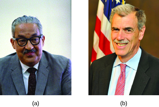 Image A is of Justice Thurgood Marshall. Image B is of Donald B. Verrilli.