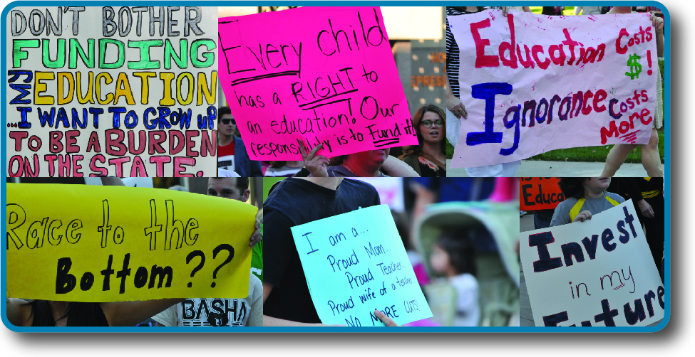 "An image of six handwritten signs. The signs read ""Don't bother funding my education… I want to grow up to be a burden on the state"", ""Every child has a right to an education! Our responsibility is to fund it!"", ""Education costs $! Ignorance costs more"", ""Race to the bottom??"", ""I am a… proud mom, proud teacher, proud wife of a teacher. No more cuts!"", and ""Invest in my future""."