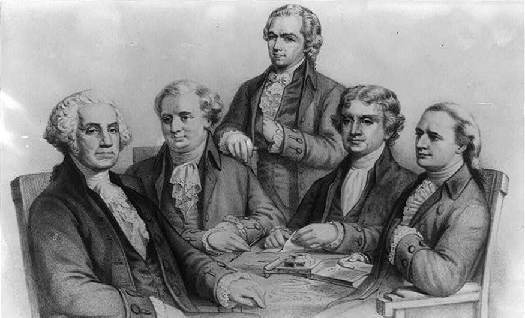 An illustration of George Washington, Henry Knox, Alexander Hamilton, Thomas Jefferson, and Edmund Randolph.