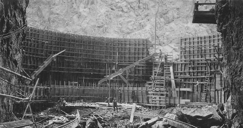 An image of workers constructing the Hoover Dam.