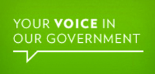 """An image of a comment bubble that reads """"Your voice in our government""""."""