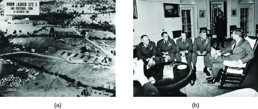 Image A is an aerial view of San Cristobal, Cuba, showing a mission launch site. Image B is of John Kennedy meeting with four pilots.
