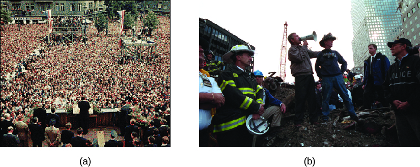Image A is of John F. Kennedy giving a speech to a large crowd of people. Image B is of George W. Bush speaking through a bullhorn, surrounded by several rescue workers.