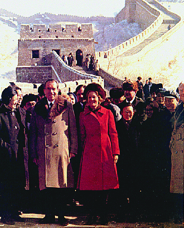 An image of Patricia and Richard Nixon standing on the Great Wall of China.