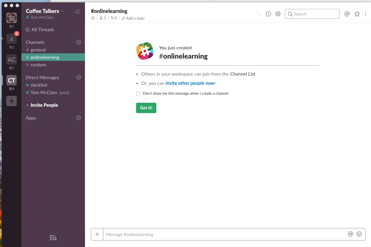 Slack Interfaces with a Channel