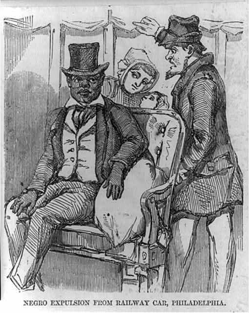 """""""Negro expulsion from railway car, Philadelphia,"""" 1856. Public Domain via Library of Congress."""
