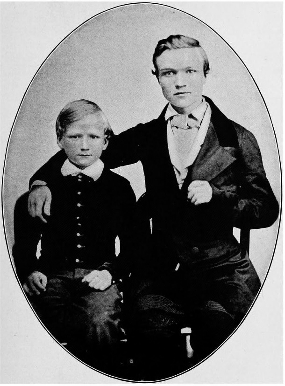 """Andrew Carnegie at age 16 (right), with his brother Thomas. """"Project Gutenberg eText 17976"""". Licensed under Public Domain via Wikimedia Commons."""