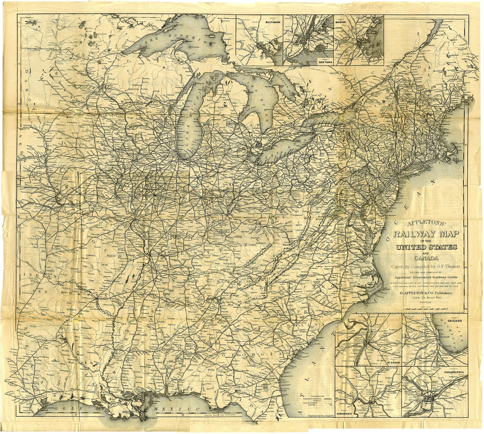 Appleton's Railway Map of the United States and Canada 1871. Flickr upload by William Creswell [Public domain or CC BY 2.0], via Wikimedia Commons