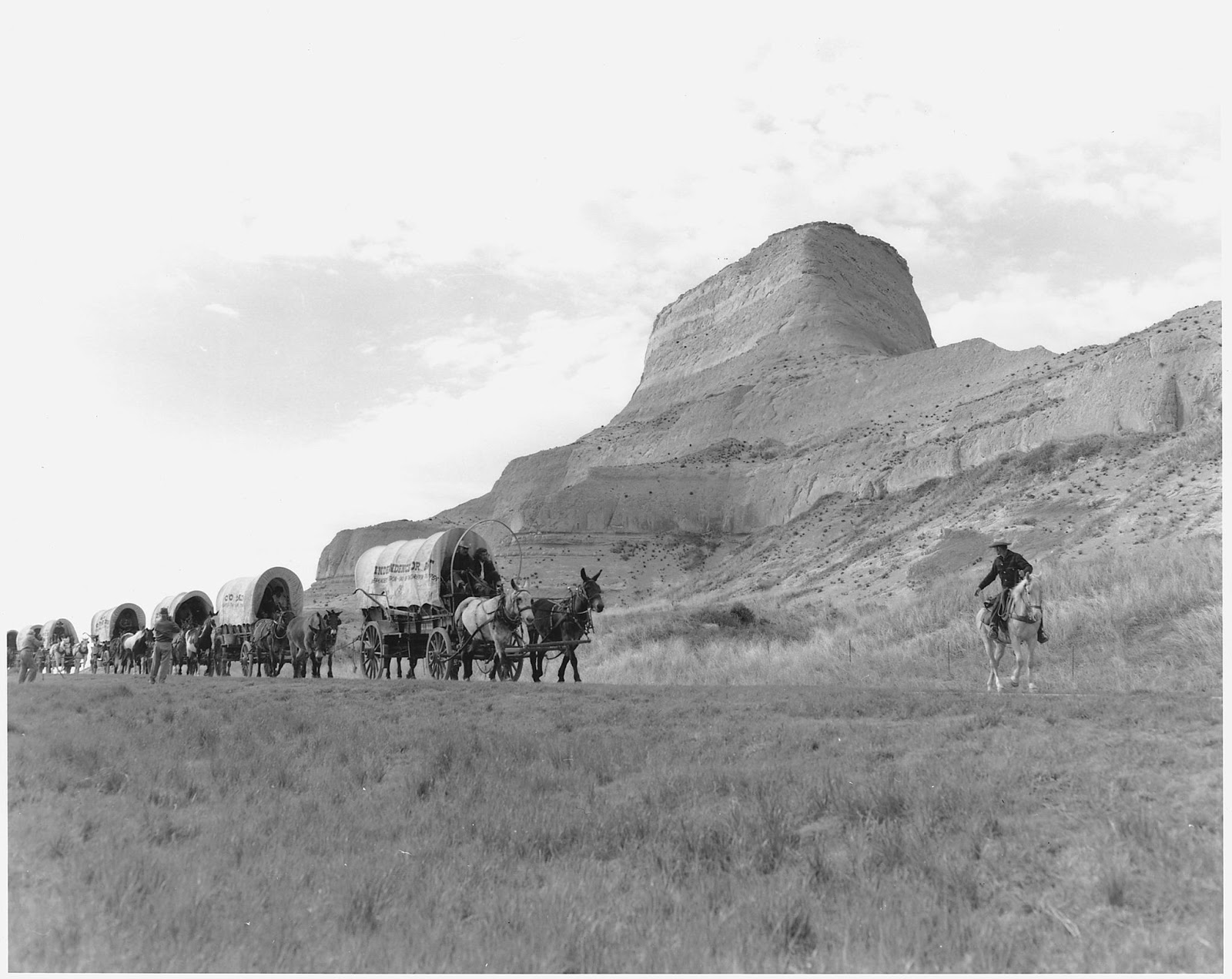 """""""Oregon Trail Reenactment."""" Author unknown, (U.S. National Archives and Records Administration) [Public domain], via Wikimedia Commons"""