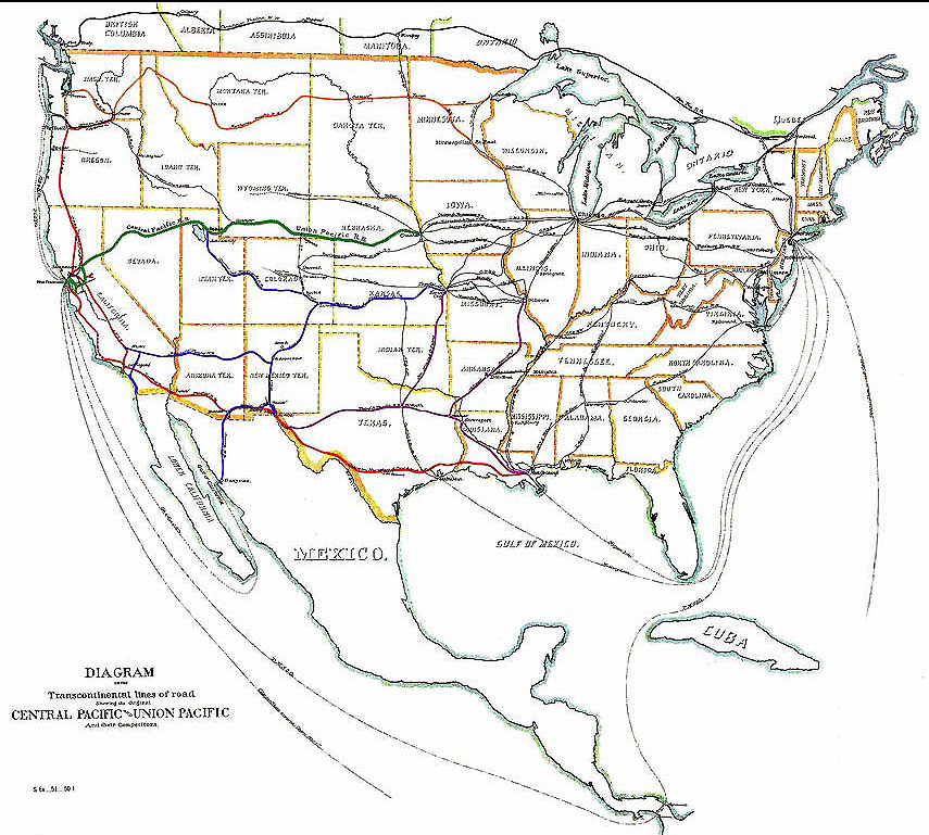 Transcontinental Railroad Lines, 1887. By United States Pacific Railway Commission. Digital image reconstruction and restoration is by Centpacrr at en.wikipedia (DigitalImageServices.com) [CC BY-SA 3.0], via Wikimedia Commons.