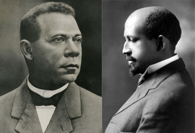 Washington (left) by Unknown photographer, cropped by User:Connormah [Public domain], via Wikimedia Commons; and and Du Bois (right) by Addison N. Scurlock [Public domain], via Wikimedia Commons.