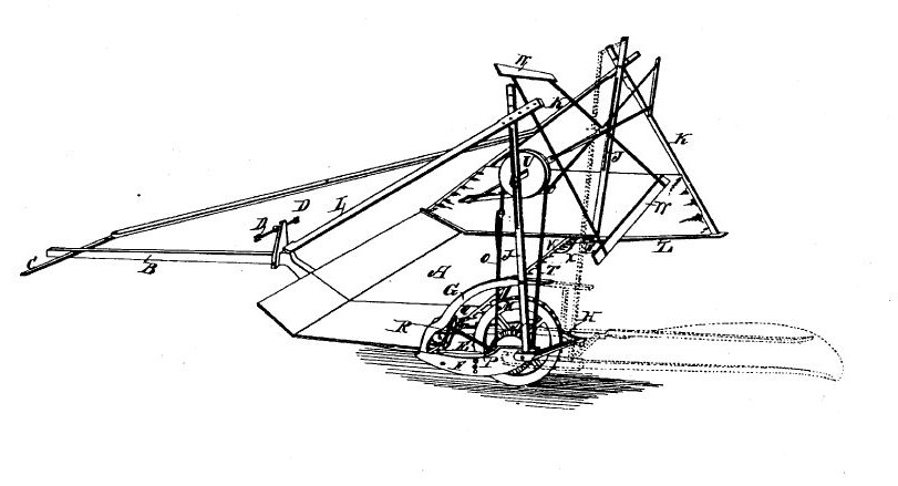 Reaper, Patented June 21, 1834. By C. H. McCormick [Public domain], via United States Patent and Trademark Office.