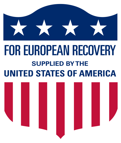 "It is a logo used on all items sent to Europe as part of the Marshall Plan.  It reads, ""For European Recovery Supplied by the United States of America""."