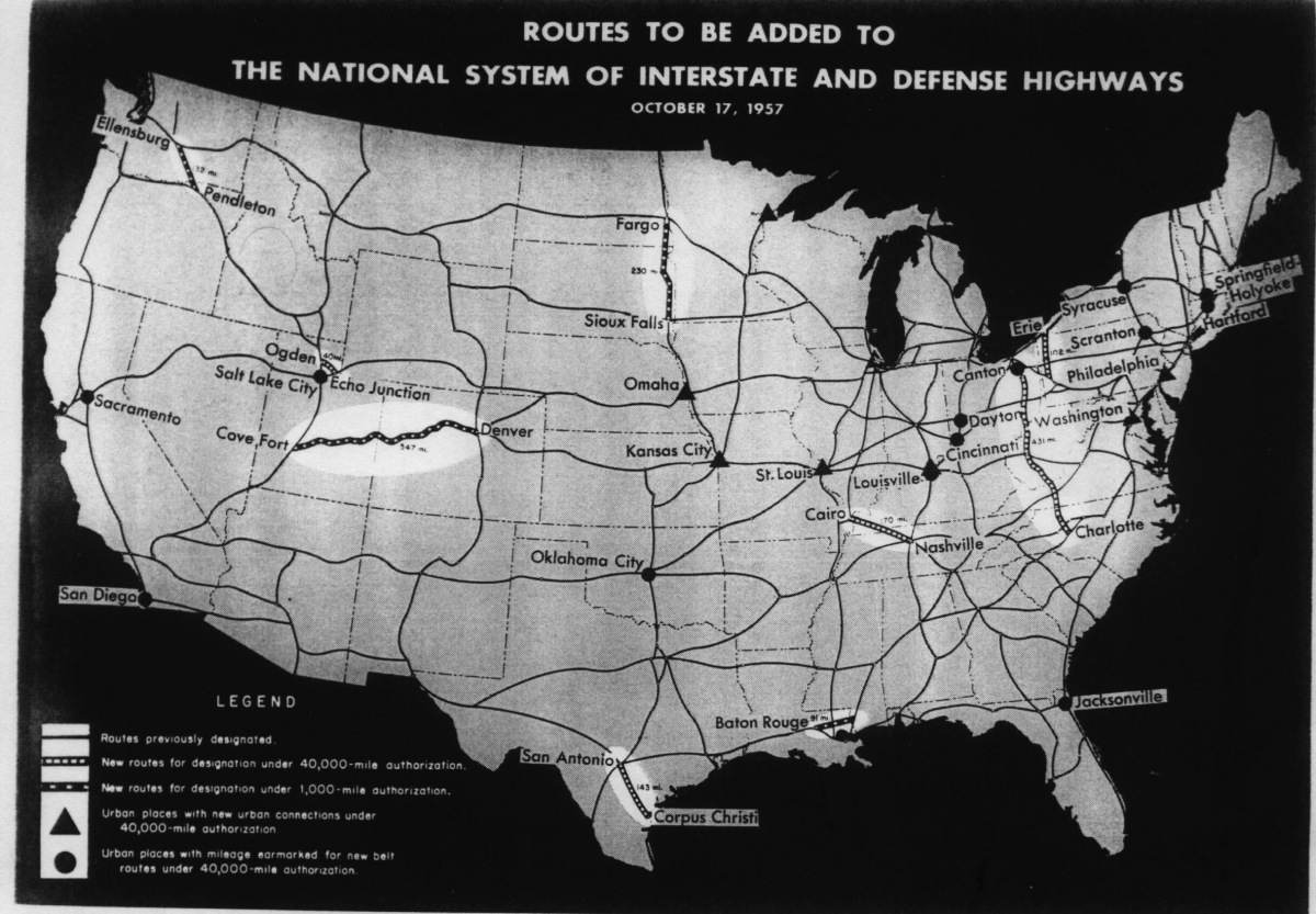 "Heading reads, ""Routes to be added to the national system of interstate and defense highways, October 17, 1957."" Shows a map of the continental United States webbed with highways across every state."