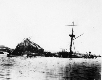 The sunken USS Maine in Havana harbor. Author Unknown [Public domain], via Wikimedia Commons.