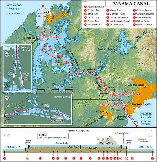 Panama Canal Map. Thomas Römer/OpenStreetMap data [CC BY-SA 2.0 (http://creativecommons.org/licenses/by-sa/2.0)], via Wikimedia Commons