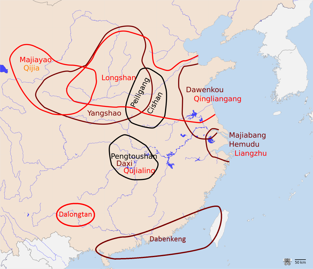 Neolithic cultures in China c. 4000 BCE | Note the location of Yangshao culture along the upper and middle reaches of the Yellow River, where nearly a thousand settlements have been identified by archaeologists. | Author: Lamassu Design | Source: Wikimedia Commons | License: CC BY-SA 3.0