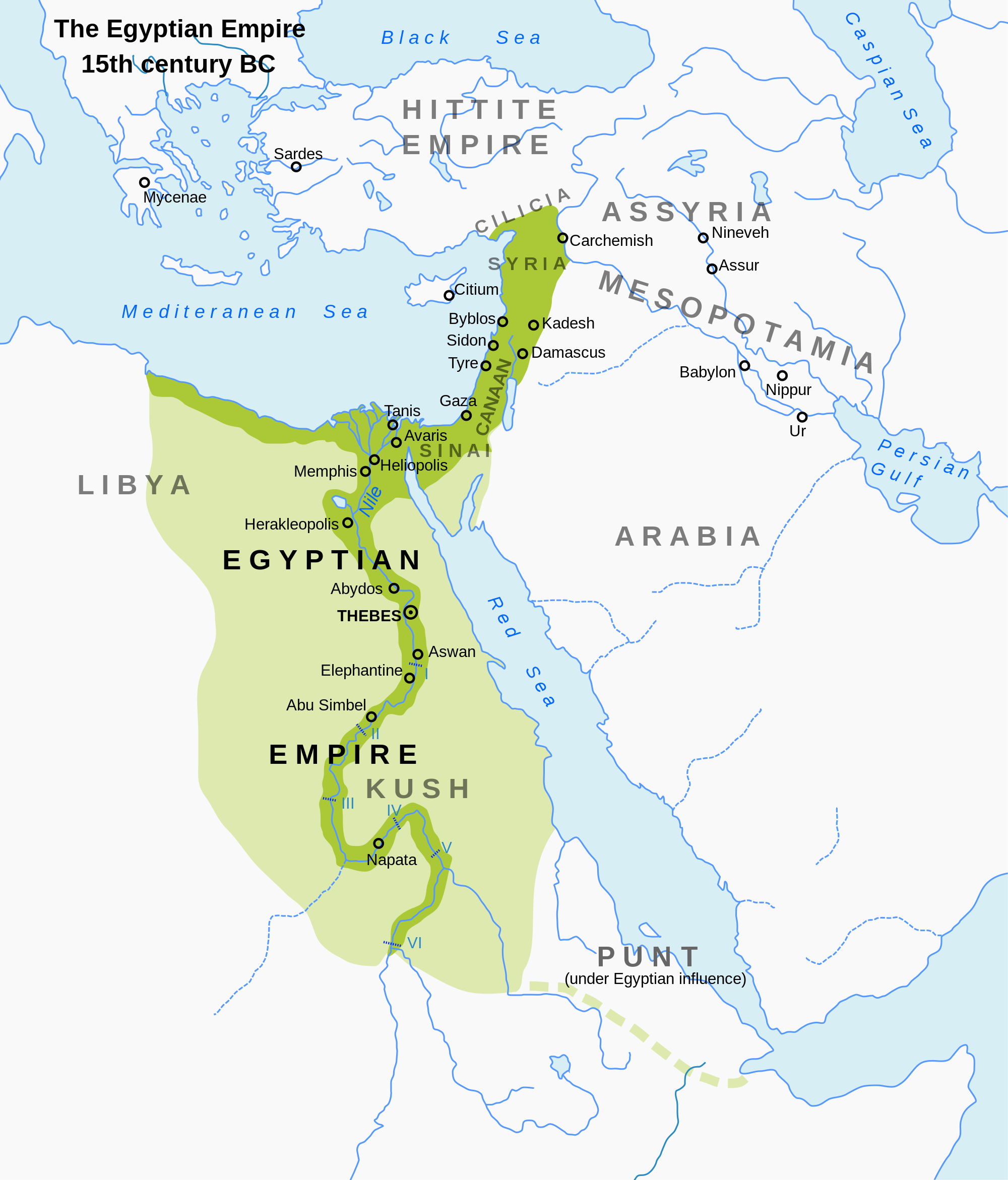 Egypt during its Imperialistic New Kingdom, c. 1400 BCE | Author: Jeff Dahl | Source: Wikimedia Commons | License: CC BY-SA 3.0