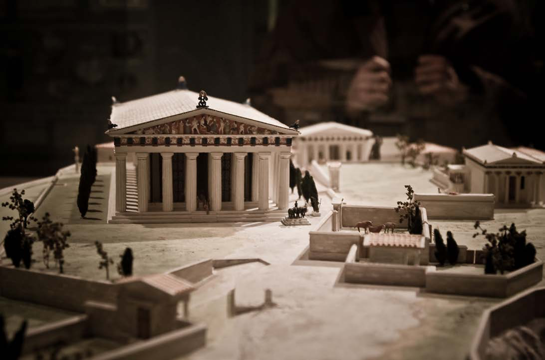 "Model of the Acropolis, with the Parthenon in the middle | Author: User ""Benson Kua"" 