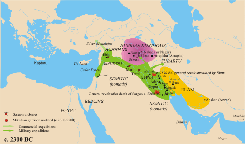 "The Akkadian Empire, c. 2300 BCE | Author: User ""Nareklm"" 