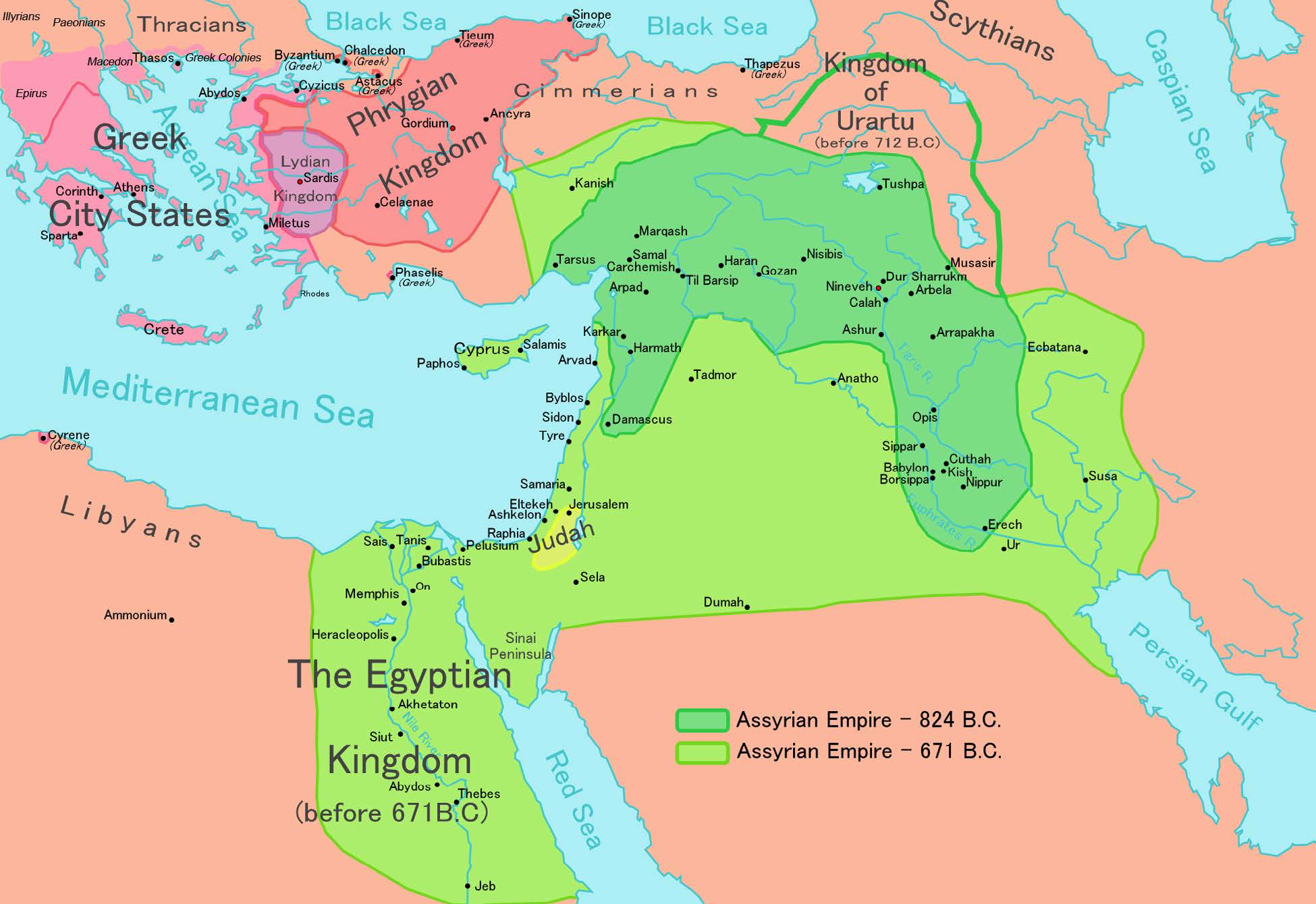 "The Assyrian Empire at its height. | Author: User ""Ningyou"" 