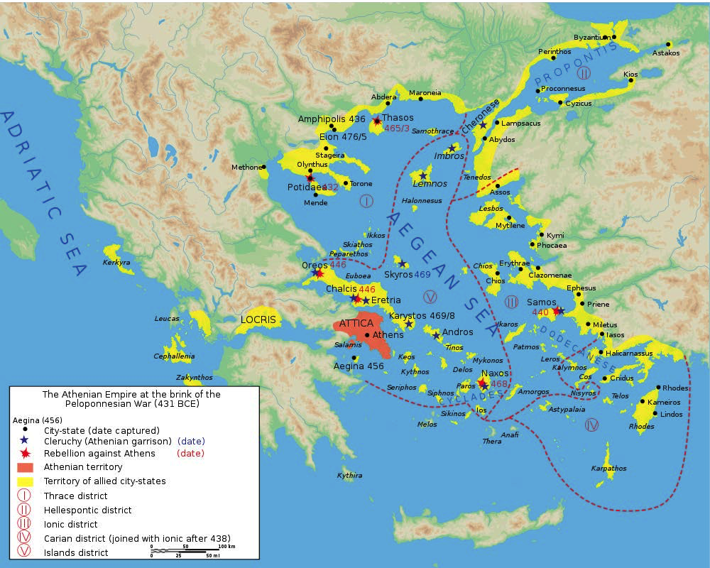 "Map of The Athenian Empire in 431 BCE | Author: User ""Marsyas"" 