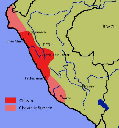 "Map of Chavin Culture Extent | Author: User ""Roarjo"" 