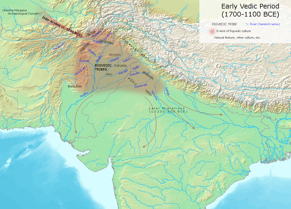 "Early Vedic Culture (1700-1000 BCE) | The early Vedic Age, showing the Aryan's migration routes and the areas where they first resided in the Punjab. | Author: User ""Avantiputra7"" 