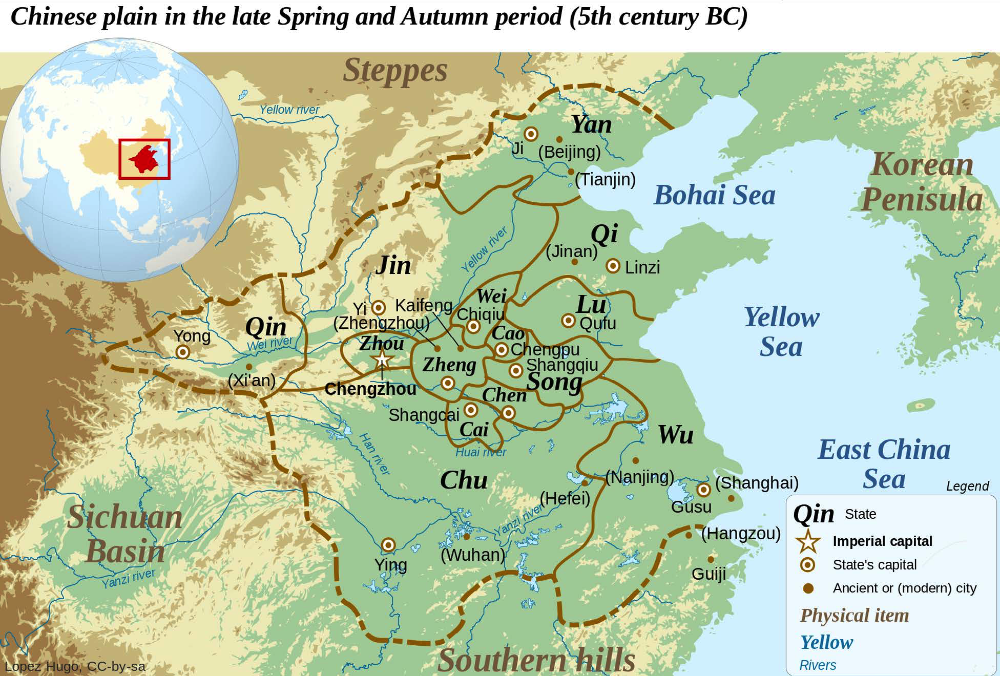 "Eastern Zhou States (fifth century, BCE) | Map of the Eastern Zhou states as they looked during the&lt;br /&gt;&lt;br /&gt;<br /> fifth century BCE. The Zhou kingdom itself had relocated farther east, with its capital at Chengzhou. The map also highlights the state of Qin. This rising power to the west would eventually conquer all of China and establish an empire | Author: User ""Yug"" 
