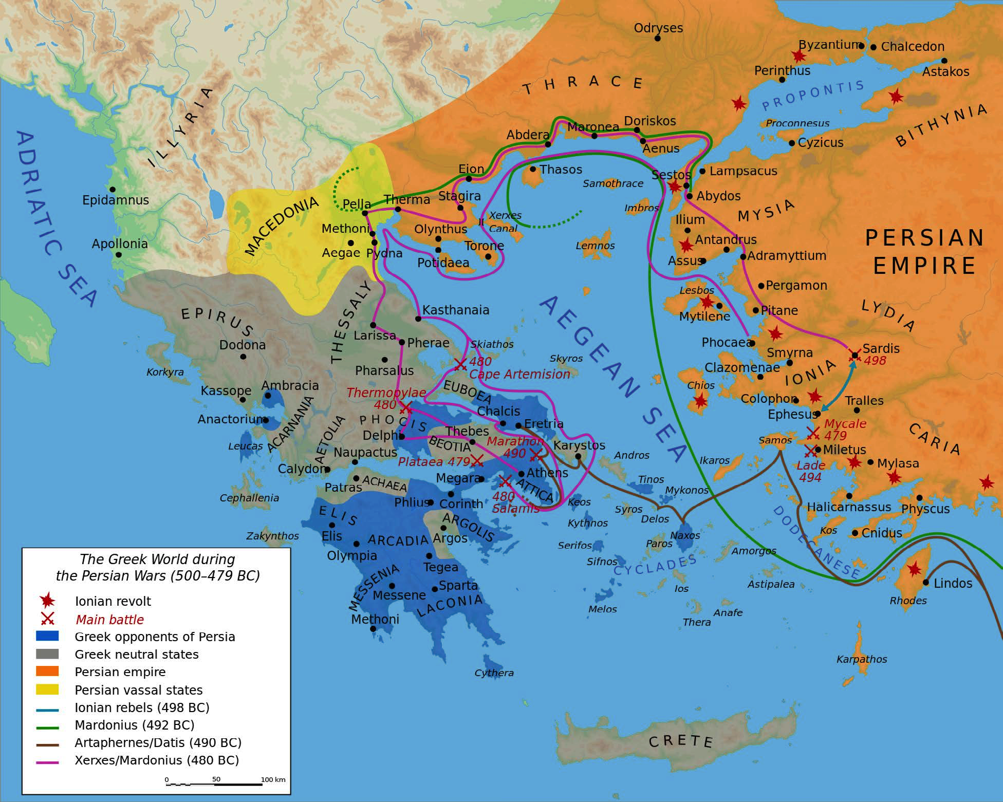 "Map of the Greek World during the Greco-Persian Wars (500-479 BCE) | Author: User ""Bibib Saint-poi"" 