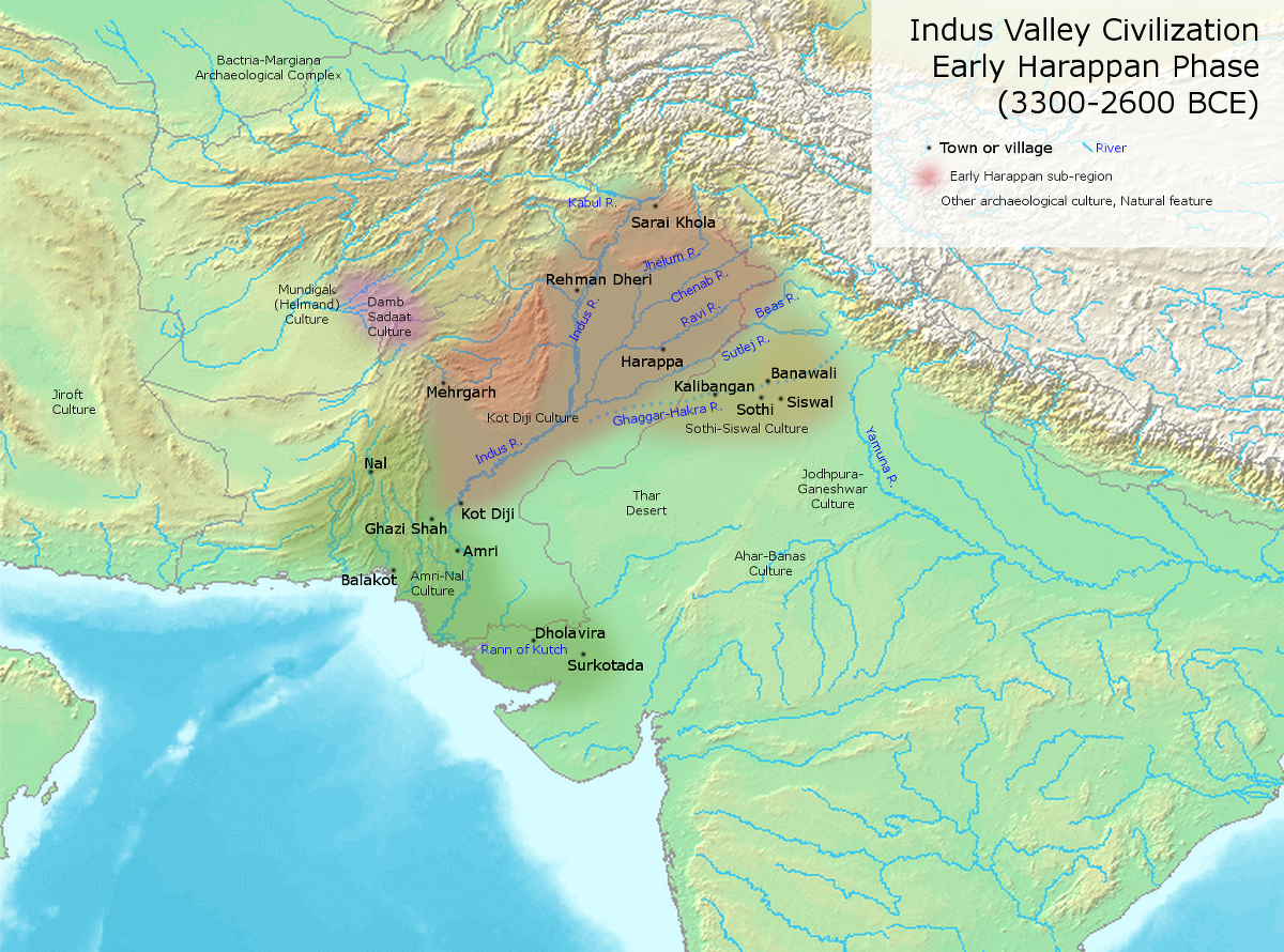 "Archaeological sites dating to northwest India's Neolithic period and the Indus Valley Civilization | Agricultural village societies first emerged to the west of the Indus and then spread to the Indus River and its many tributaries, as well as the Ghaggar-Hakra River (running parallel to and east of the Indus), which has since dried up. These provided the foundation for the emergence of towns and cities. | Author: User ""Avantiputra7"" 