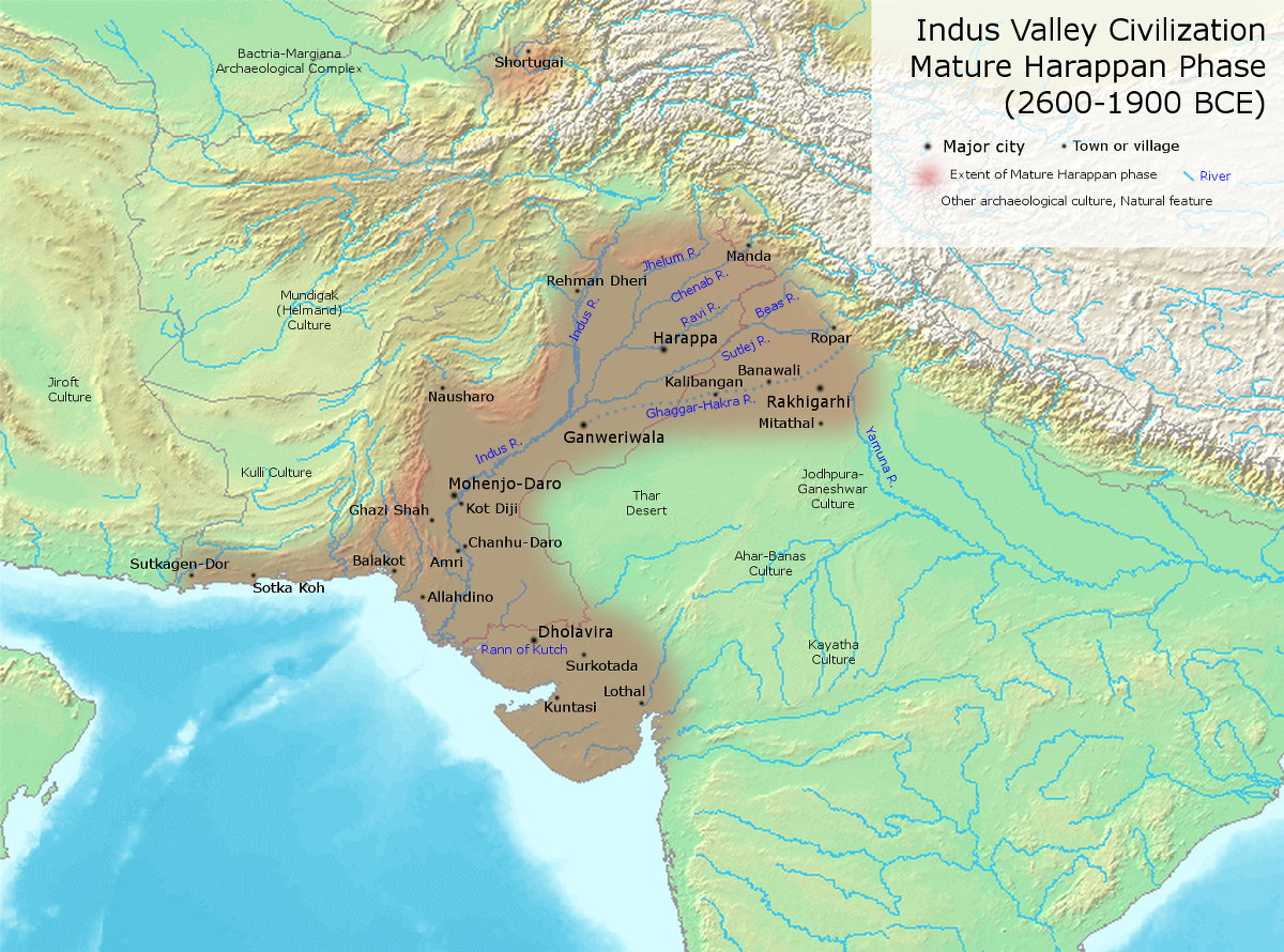 "Indus Valley (Harappan) Civilization | Map of important Indus Valley (Harappan) Civilization cities and towns during its most developed period. | Author: User ""Avantiputra7"" 