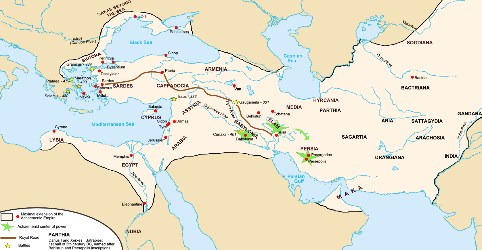 "The Achaemenid Empire of the Persians at its greatest extent | Author: user ""Fabienkhan"" 