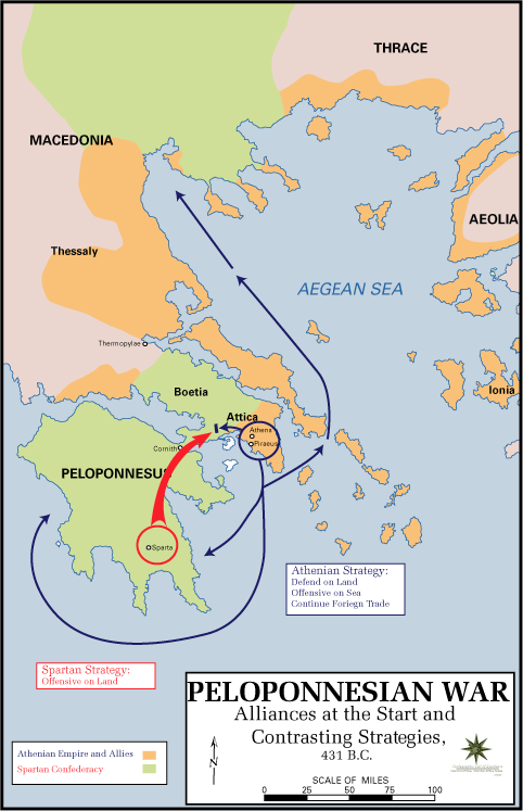 "Map of the Peloponnesian War Alliances at the Start and Contrasting Strategies, 431 BCE | Author: User ""Magnus Manske"" 