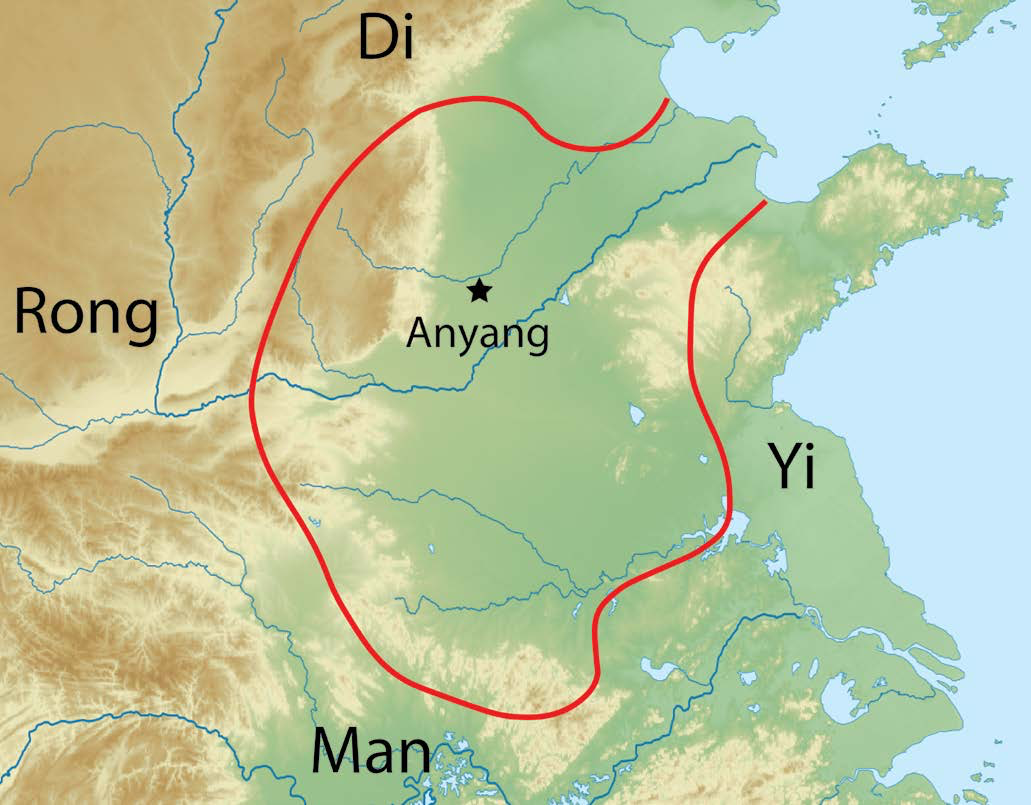 Shang Dynasty | This map of the Shang Dynasty shows its capital (Anyang) and boundaries. The Shang centered in the North China Plain, along the lower reaches of the Yellow River. The other labels indicate names given by the Shang rulers to tribal peoples surrounding the kingdom. |  Author: Corey Parson | Source: Original Work | License: CC BY-SA 4.0